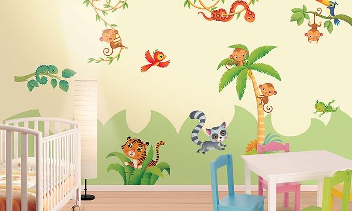 Stickers murali bambini cameretta nella foresta tropicale leostickers - Adesivi per cameretta bambini ...